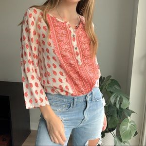Lucky Brand Paisley Print Henley Size S